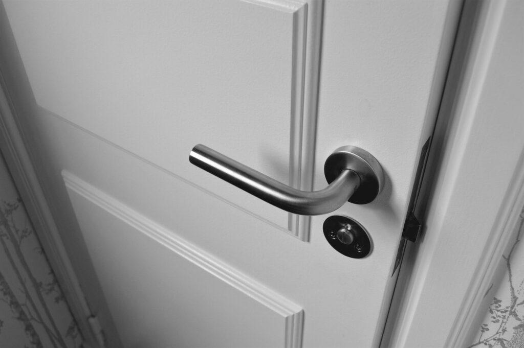 Door knob on white door